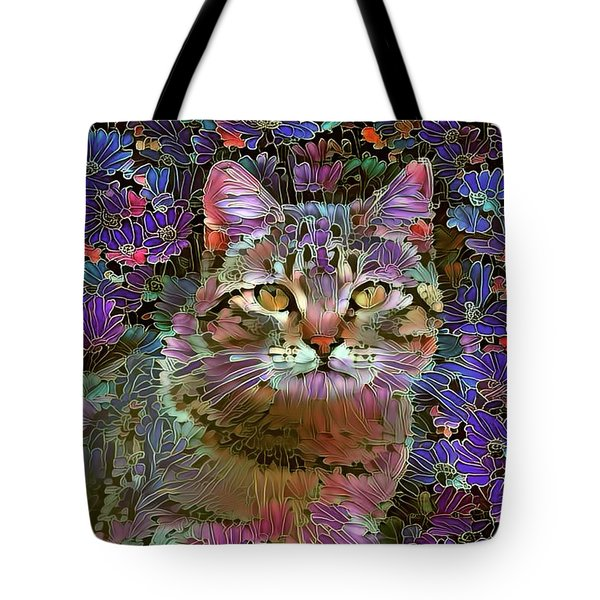 The Cat Who Loved Flowers 2 Tote Bag