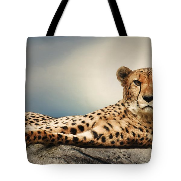 Tote Bag featuring the photograph The Cheetah by Christine Sponchia