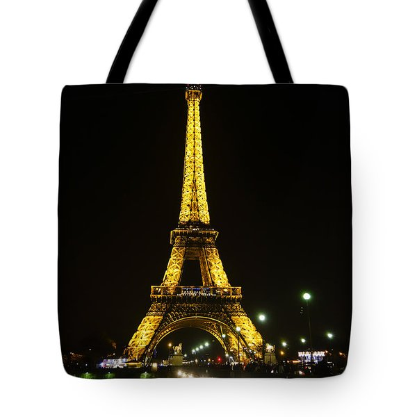 The Eiffel Tower At Night Illuminated, Paris, France. Tote Bag