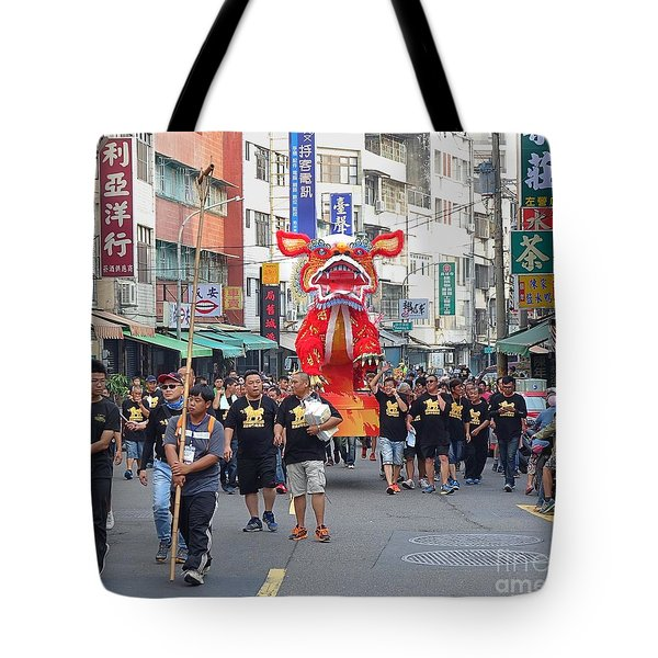 Tote Bag featuring the photograph The Fire Lion Procession In Southern Taiwan by Yali Shi