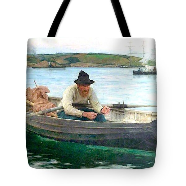 Tote Bag featuring the painting The Fisherman by Henry Scott Tuke