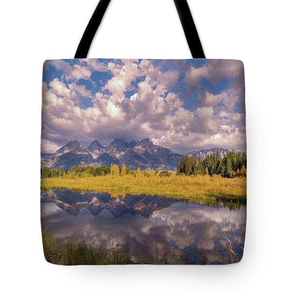 Tote Bag featuring the photograph The Grand Tetons National Park Autumn Olena Art Fall Colors Photography by OLena Art Brand