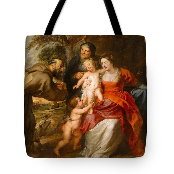 The Holy Family With Saints Francis And Anne And The Infant Saint John The Baptist Tote Bag by Peter Paul Rubens