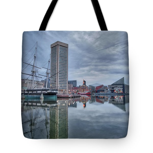 Tote Bag featuring the photograph The Inner Harbor On A Sunday Cloudy Morning by Mark Dodd
