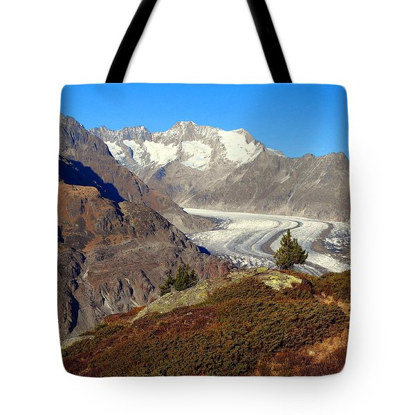 The Large Aletsch Glacier In Switzerland Tote Bag