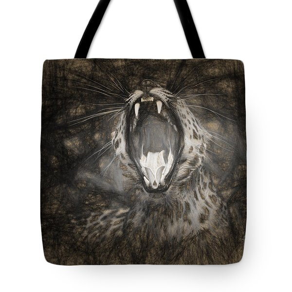 The Leopard's Tongue Rolling Roar IIi Tote Bag by Mary Lou Chmura