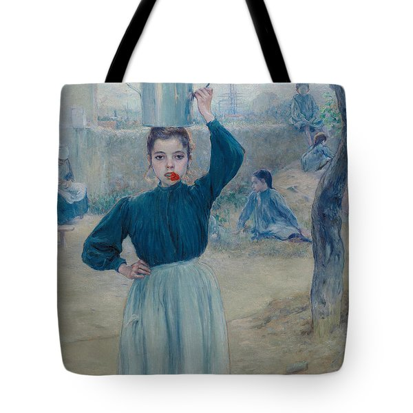 The Little Village Girl With Red Carnation Tote Bag