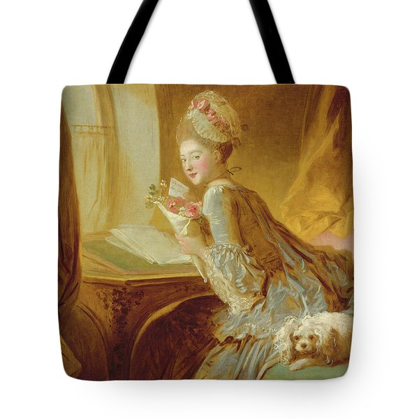 Tote Bag featuring the painting The Love Letter by Jean Honore Fragonard