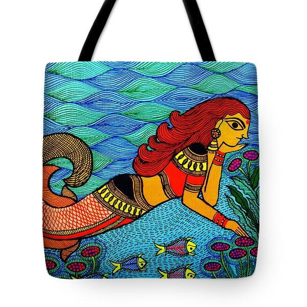 The Mermaid In Madhubani Tote Bag