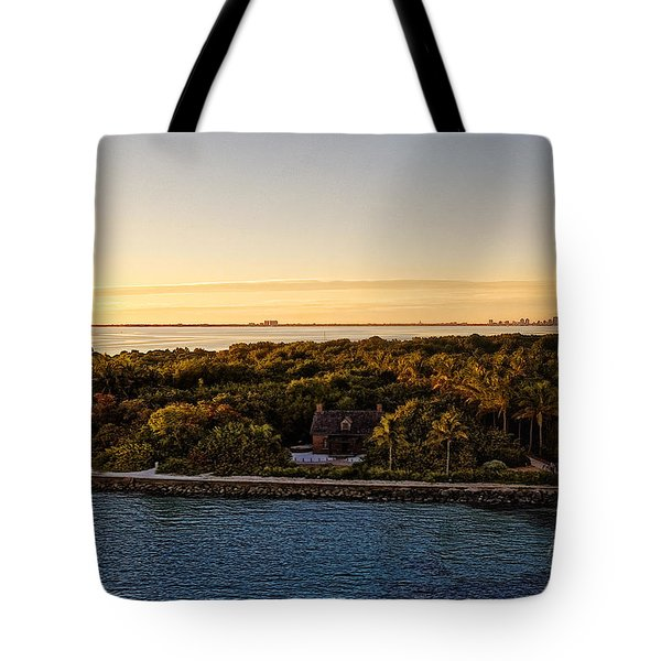 Tote Bag featuring the photograph The Miami Lighthouse by Lars Lentz