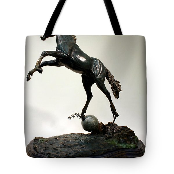 Tote Bag featuring the sculpture The Moonhorse Bronze  by Dawn Senior-Trask