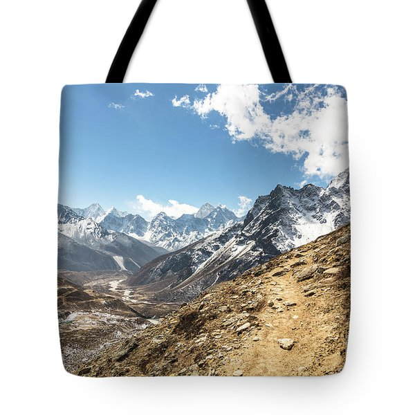 The Path To Cho La Pass In Nepal Tote Bag