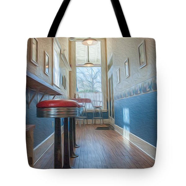 Tote Bag featuring the photograph The Pie Shop by Dan Traun