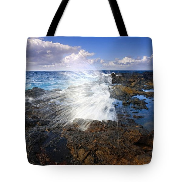 The Sea Erupts Tote Bag by Mike  Dawson