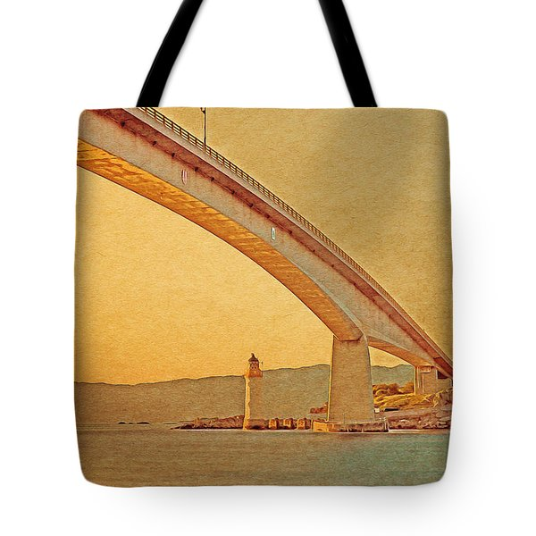 Tote Bag featuring the digital art The Skye Bridge And Kyleakin Lighthouse by Anthony Murphy