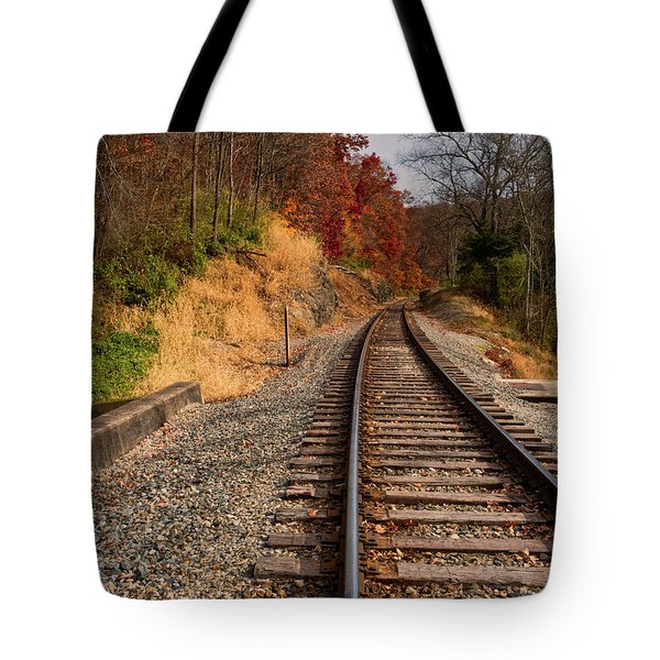 Tote Bag featuring the photograph The Tracks In The Fall by Mark Dodd