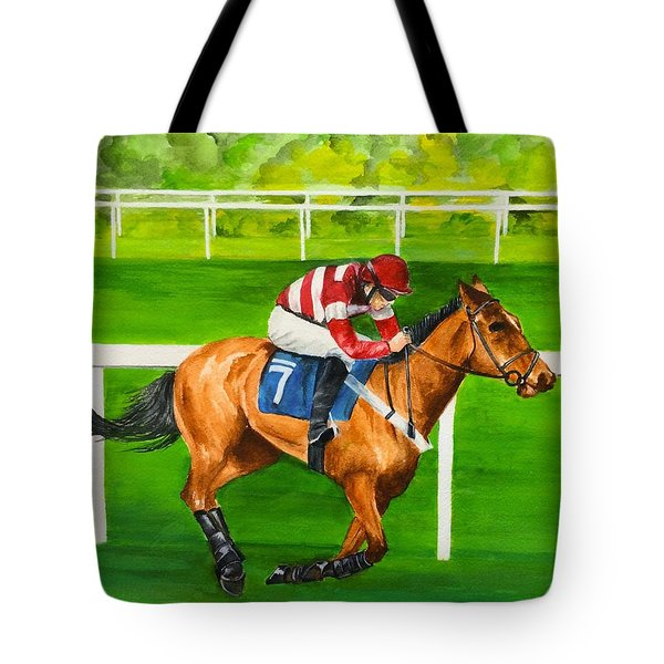 Tote Bag featuring the painting The Winner Is by Ellen Canfield