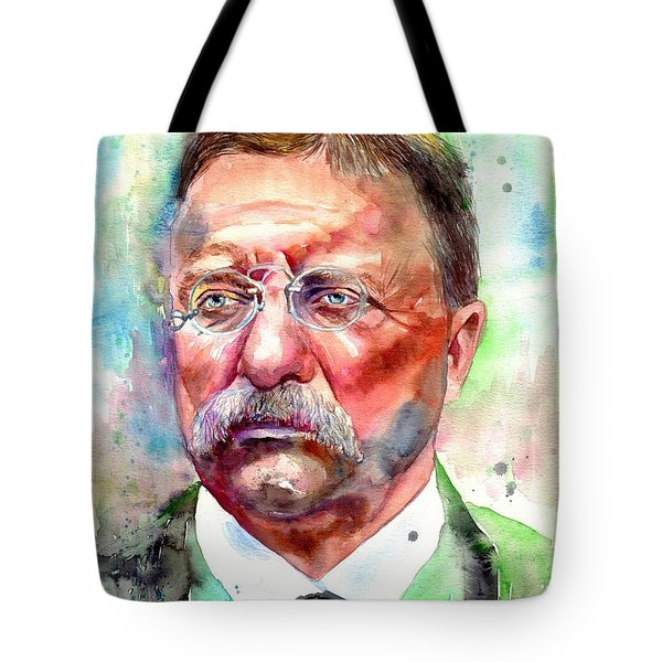 Theodore Roosevelt Watercolor Portrait Tote Bag