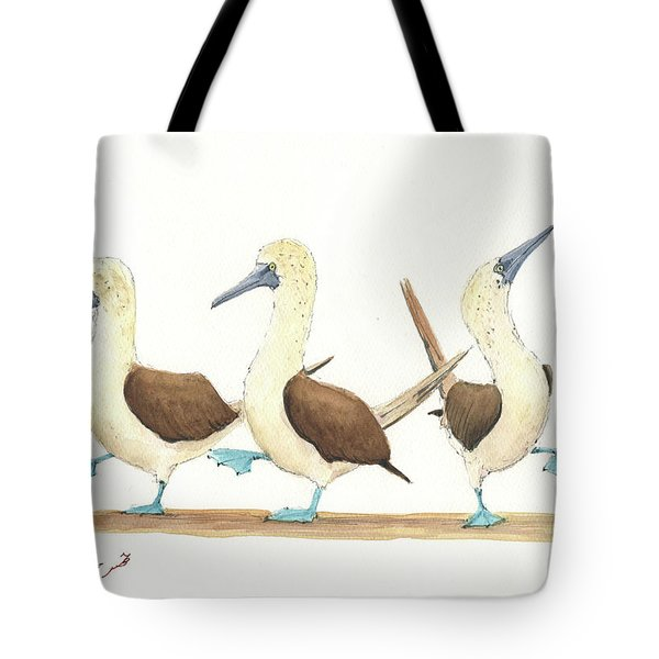 Three Blue Footed Boobies Tote Bag