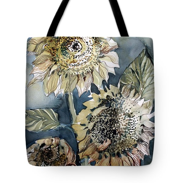 Three Sunflowers Tote Bag by Mindy Newman