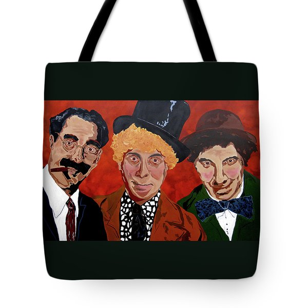 Three's Comedy Tote Bag
