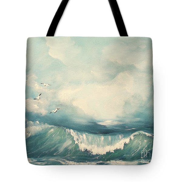 Tote Bag featuring the painting Tide by Miroslaw  Chelchowski