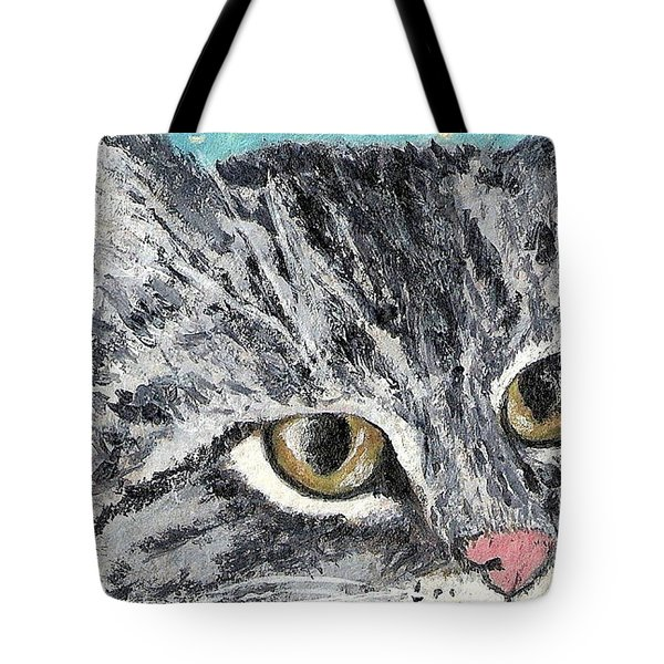 Tote Bag featuring the painting Tiger Cat by Reina Resto