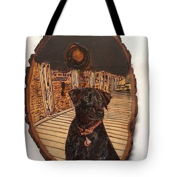 Tote Bag featuring the pyrography Timber by Denise Tomasura