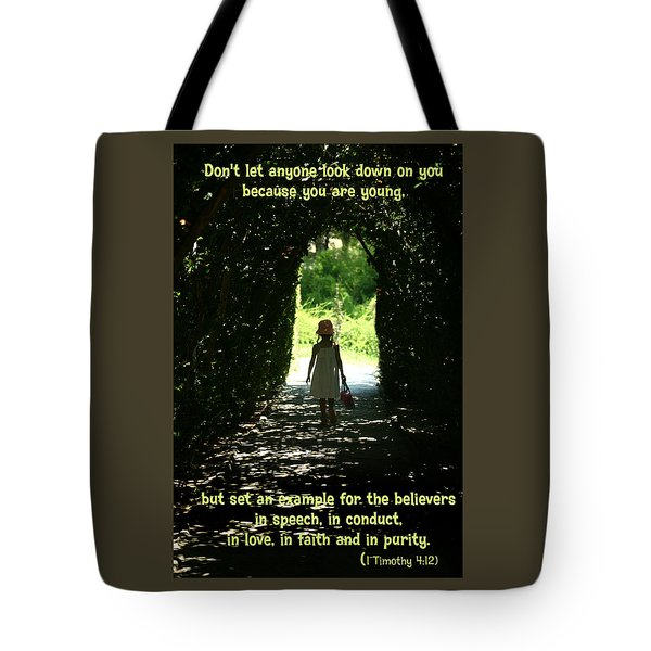 Tote Bag featuring the photograph 1 Timothy 4 12 by Emanuel Tanjala