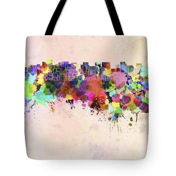 Tokyo Skyline In Watercolor Background Tote Bag by Pablo Romero