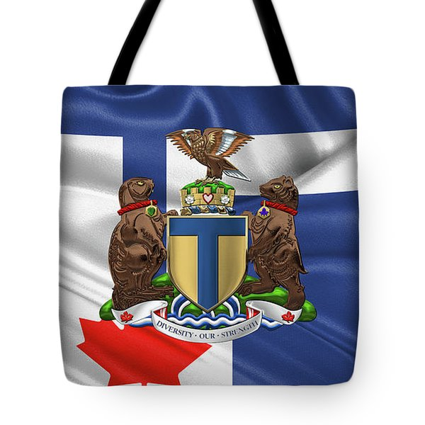 Toronto - Coat Of Arms Over City Of Toronto Flag  Tote Bag