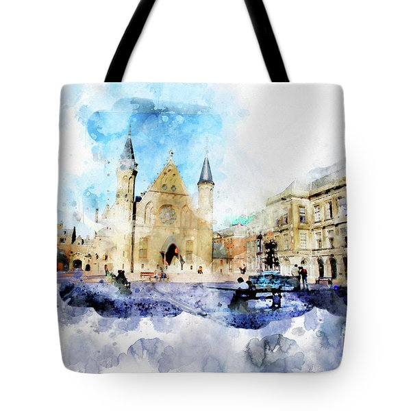 Town Life In Watercolor Style Tote Bag