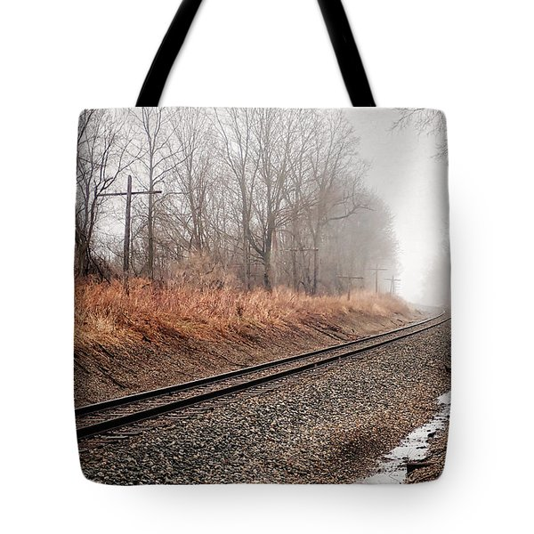 Tote Bag featuring the photograph Tracks In Morning Fog by Lars Lentz