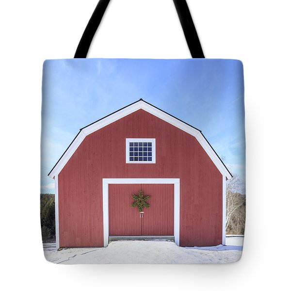 Traditional New England Red Barn In Winter Tote Bag