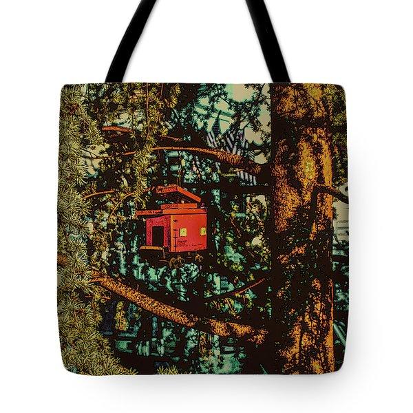 Train Bird House Tote Bag