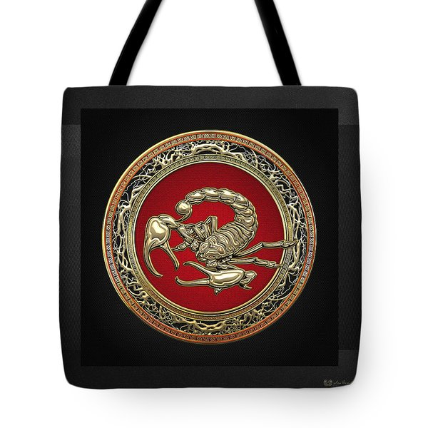 Treasure Trove - Sacred Golden Scorpion On Black Tote Bag