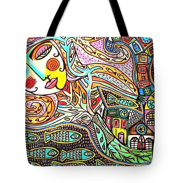 Tree Of Life Village Mermaid Tote Bag