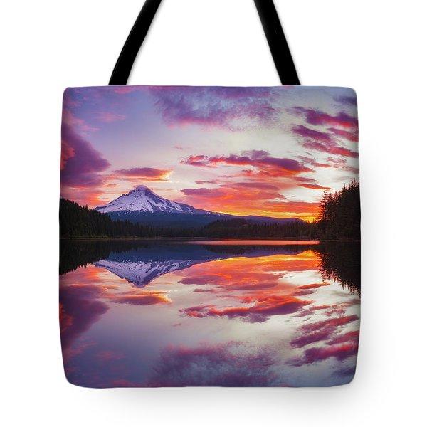 Tote Bag featuring the photograph Trillium Lake Sunrise by Darren White