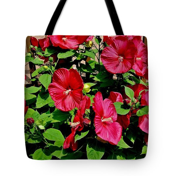 Tropical Red Hibiscus Bush Tote Bag by Marsha Heiken