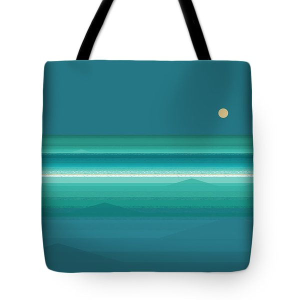 Tote Bag featuring the digital art Tropical Sea Moonrise by Val Arie
