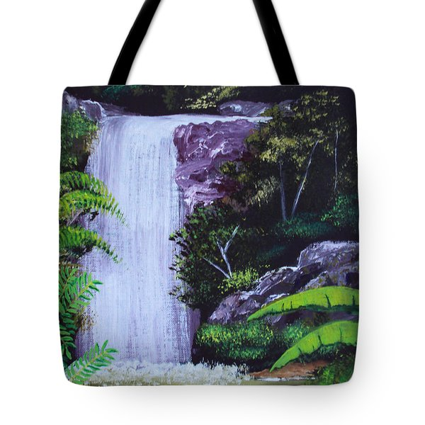 Tropical Waterfall Tote Bag by Luis F Rodriguez