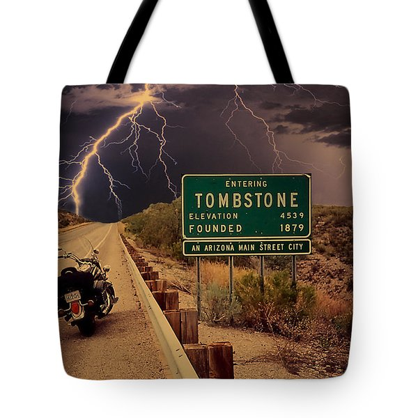 Trouble In Tombstone Tote Bag by Gary Baird