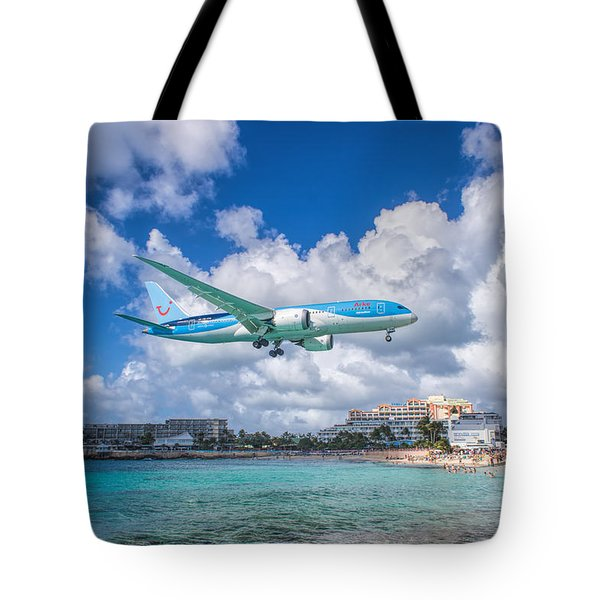 Tui Airlines Netherlands Landing At St. Maarten Airport. Tote Bag