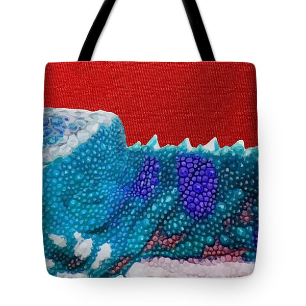 Turquoise Chameleon On Red Tote Bag