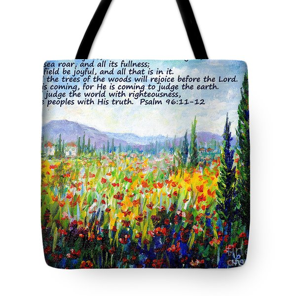 Tote Bag featuring the painting Tuscany Fields With Scripture by Lou Ann Bagnall