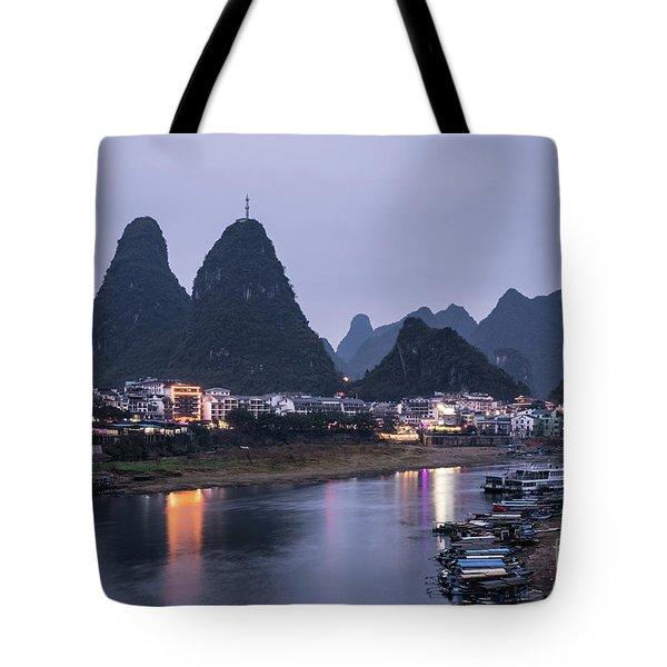Twilight Over The Lijang River In Yangshuo Tote Bag