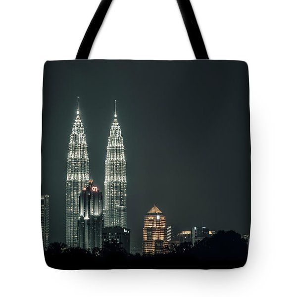 Tote Bag featuring the photograph Twin Towers by Charuhas Images