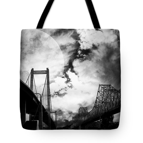 Two Bridges One Moon Tote Bag by Wingsdomain Art and Photography