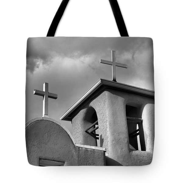 Two Crosses At San Francisco De Asis Mission Church In Black And White Tote Bag