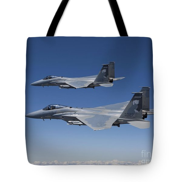 Two F-15 Eagles Conduct Air-to-air Tote Bag by HIGH-G Productions